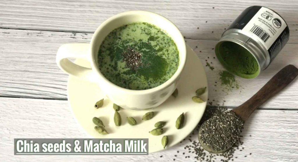 Chia seeds and Matcha Milk